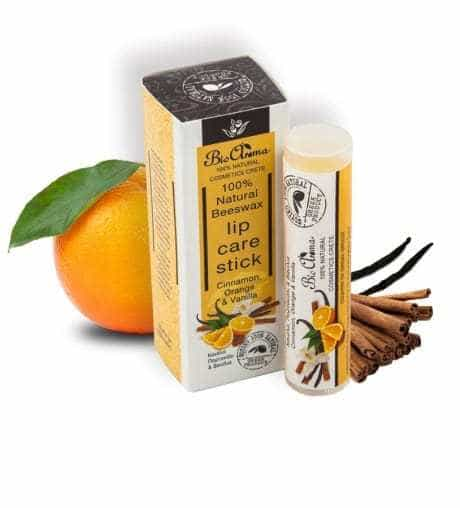 Lip balm with orange, vanilla and cinnamon 5ml.