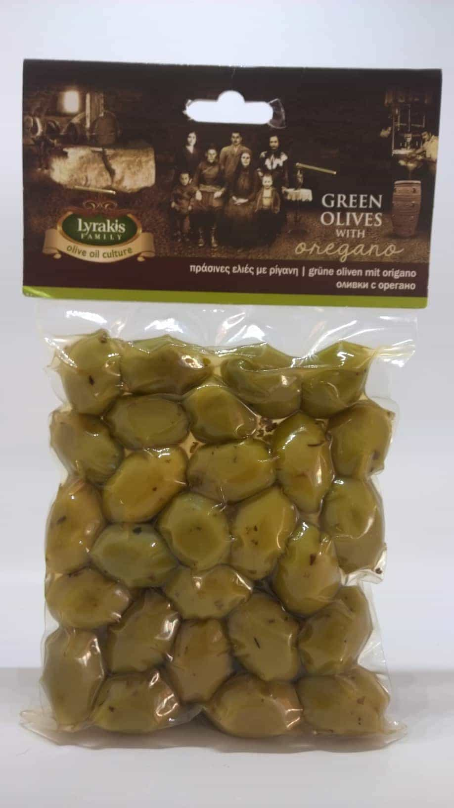 Green olives with Oregano.
