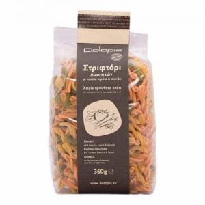 Gemelli with tomato, carrot and spinace. 360gr.