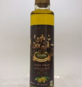 Olive oil with green olives.