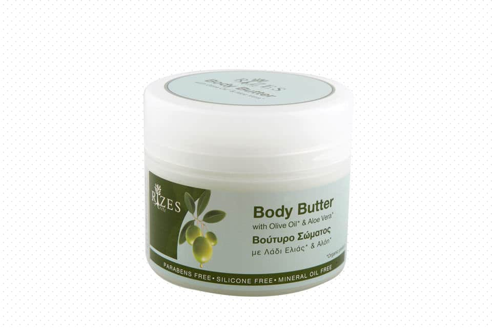 Body butter with olive oil and aloe vera.