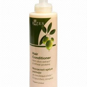 Hair conditioner with olive extract and wheat proteins.