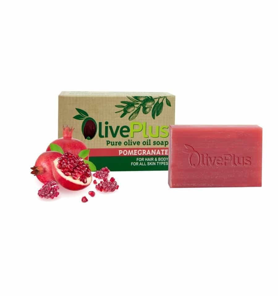 Natural organic olive oil soap with pomegranate extract 100gr