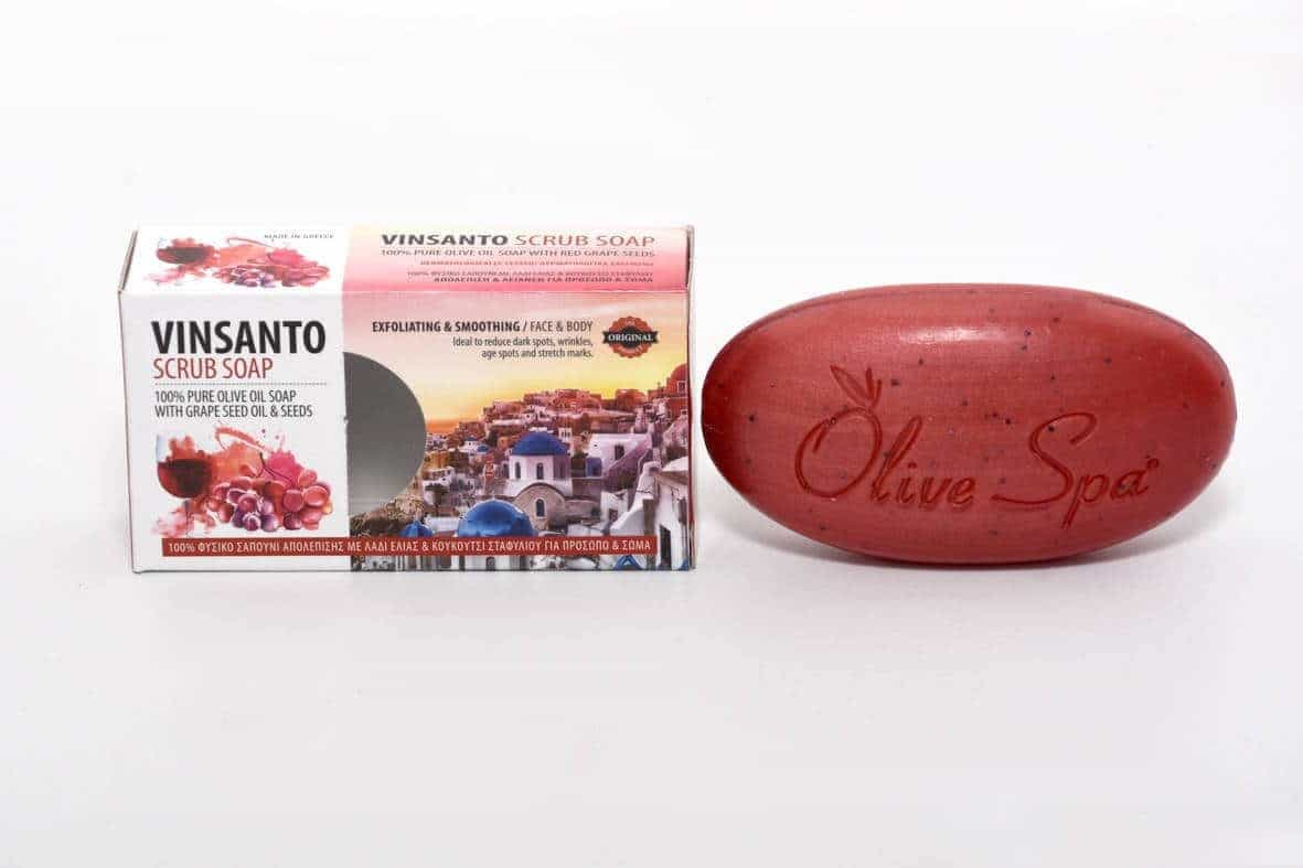 Santorini Vinsanto wine red scrub soap, with grape seed oil and seeds.